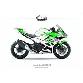 Kit déco Kawasaki Ninja 400 2018 2.3 Blanc Vert Noir