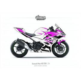 Kit déco Kawasaki Ninja 400 2018 2.4 Blanc Rose Noir