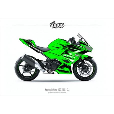 Kit déco Kawasaki Ninja 400 2018 3.1 Vert Noir Blanc