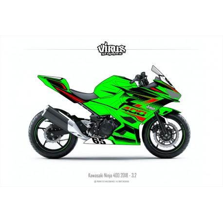 Kit déco Kawasaki Ninja 400 2018 3.2 Vert Noir Rouge