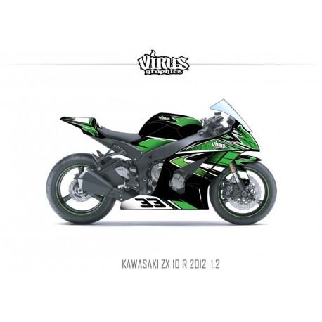 Kit déco Kawasaki ZX10R 2011/15 1.2 Noir Vert Blanc