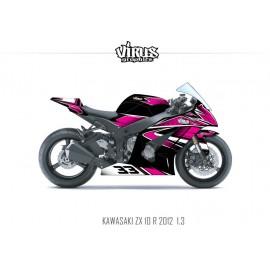 Kit déco Kawasaki ZX10R 2011/15 1.3 Noir Rose Blanc