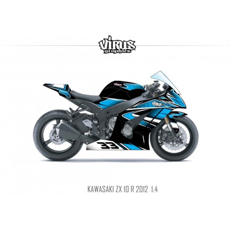 Kit déco Kawasaki ZX10R 2011/15 1.4 Noir Bleu Blanc