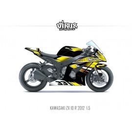 Kit déco Kawasaki ZX10R 2011/15 1.5 Noir Jaune Blanc