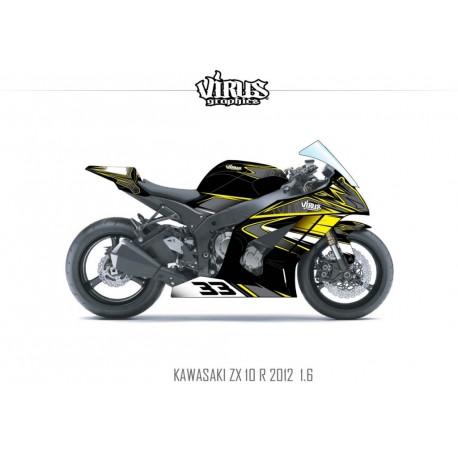 Kit déco Kawasaki ZX10R 2011/15 1.6 Noir Gris Jaune