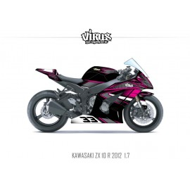 Kit déco Kawasaki ZX10R 2011/15 1.7 Noir Gris Rose