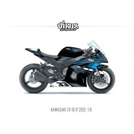 Kit déco Kawasaki ZX10R 2011/15 1.8 Noir Gris Bleu