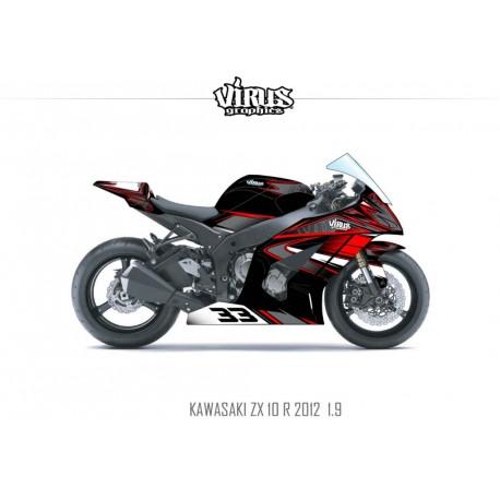 Kit déco Kawasaki ZX10R 2011/15 1.9 Noir Gris Rouge