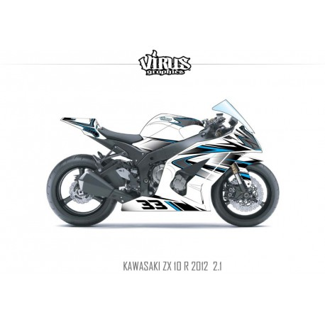 Kit déco Kawasaki ZX10R 2011/15 2.1 Blanc Noir Bleu