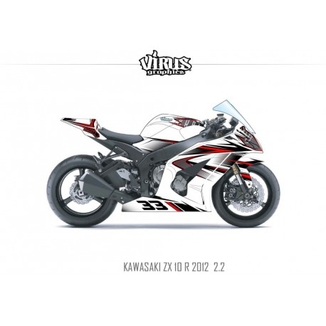Kit déco Kawasaki ZX10R 2011/15 2.2 Blanc Noir Rouge