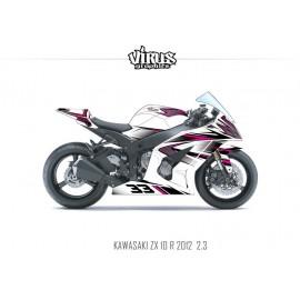Kit déco Kawasaki ZX10R 2011/15 2.3 Blanc Noir Rose