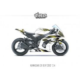 Kit déco Kawasaki ZX10R 2011/15 2.4 Blanc Noir Jaune