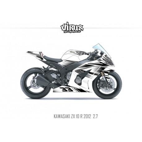 Kit déco Kawasaki ZX10R 2011/15 2.7 Blanc Noir