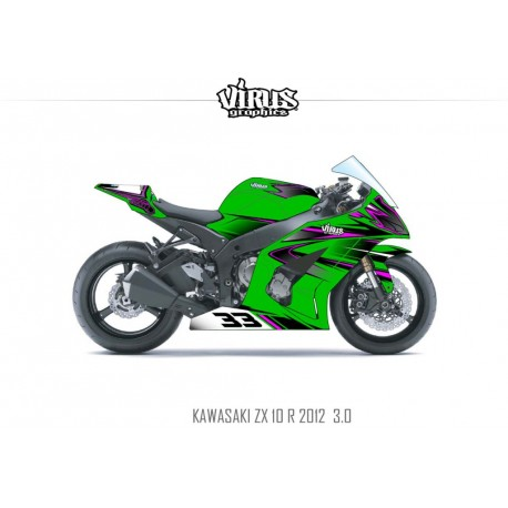 Kit déco Kawasaki ZX10R 2011/15 3.0 Vert Noir Rose