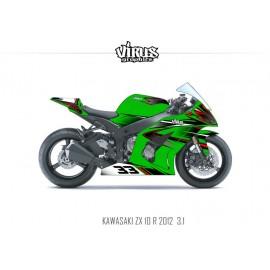 Kit déco Kawasaki ZX10R 2011/15 3.1 Vert Noir Rouge