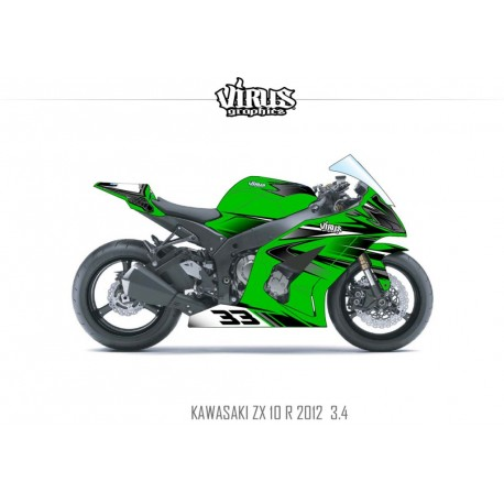 Kit déco Kawasaki ZX10R 2011/15 3.4 Vert Noir Gris
