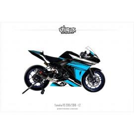 Kit déco Yamaha R3 2015/18 1.2 Noir Bleu Blanc