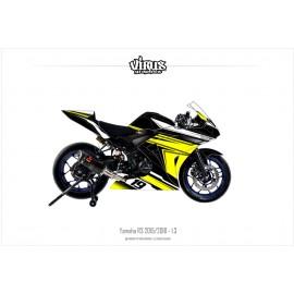 Kit déco Yamaha R3 2015/18 1.3 Noir Jaune Blanc