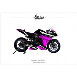 Kit déco Yamaha R3 2015/18 1.4 Noir Rose Blanc