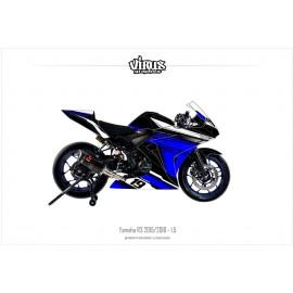 Kit déco Yamaha R3 2015/18 1.5 Noir Bleu  Blanc