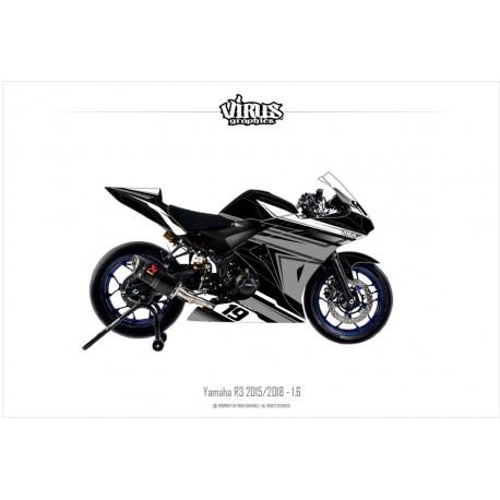 Kit déco Yamaha R3 2015/18 1.6 Noir Gris  Blanc