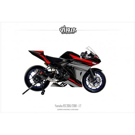 Kit déco Yamaha R3 2015/18 1.7 Noir Gris  Rouge