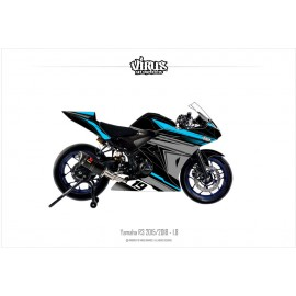 Kit déco Yamaha R3 2015/18 1.7 Noir Gris  Bleu