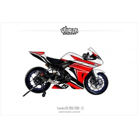 Kit déco Yamaha R3 2015/18 2.1 Blanc Rouge Noir