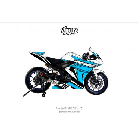 Kit déco Yamaha R3 2015/18 2.2 Blanc Bleu Noir