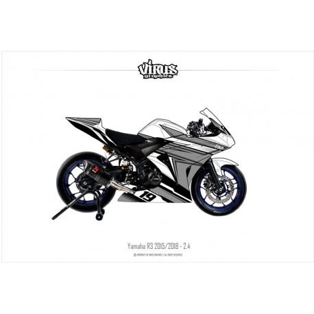 Kit déco Yamaha R3 2015/18 2.4 Blanc Gris Noir