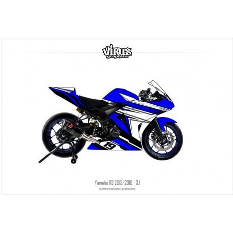 Kit déco Yamaha R3 2015/18 3.1 Bleu Blanc Noir