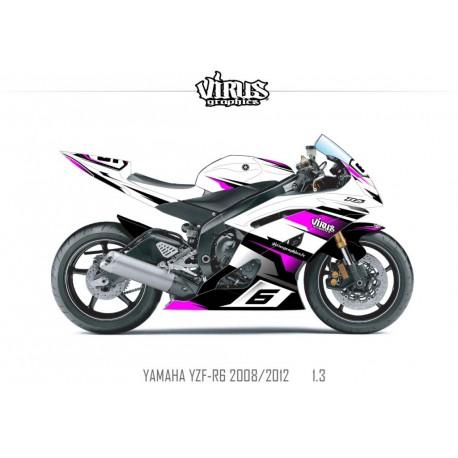 Kit déco Yamaha R6 2008/16 1.3 Blanc Noir Rose