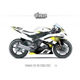 Kit déco Yamaha R6 2008/16 1.4 Blanc Noir Jaune