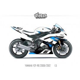 Kit déco Yamaha R6 2008/16 1.5 Blanc Noir Bleu