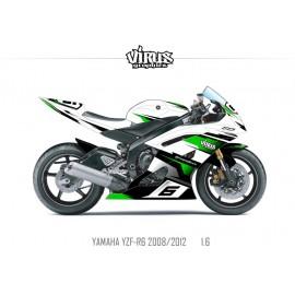 Kit déco Yamaha R6 2008/16 1.6 Blanc Noir Vert
