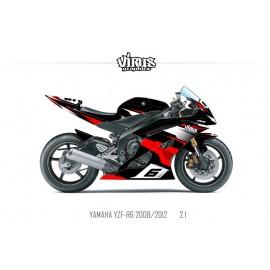 Kit déco Yamaha R6 2008/16 2.1 Noir Rouge Blanc