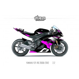 Kit déco Yamaha R6 2008/16 2.2 Noir Rose Blanc
