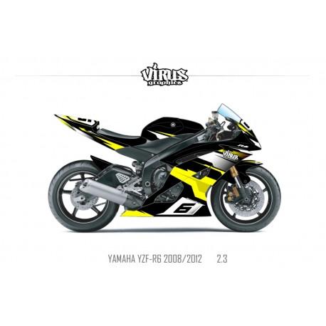 Kit déco Yamaha R6 2008/16 2.3 Noir Jaune Blanc