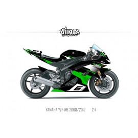 Kit déco Yamaha R6 2008/16 2.4 Noir Vert Blanc