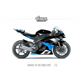 Kit déco Yamaha R6 2008/16 2.5 Noir Bleu Blanc