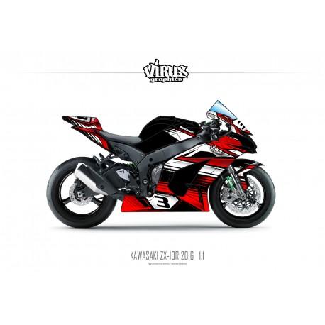 Kit déco Kawasaki ZX10R 2016 1.1 Noir Rouge Blanc