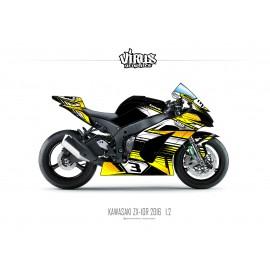 Kit déco Kawasaki ZX10R 2016 1.2 Noir Jaune Blanc