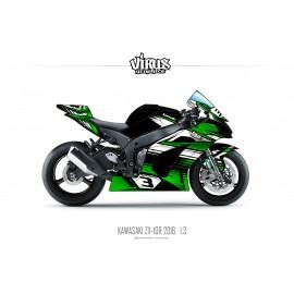 Kit déco Kawasaki ZX10R 2016 1.3 Noir Vert Blanc