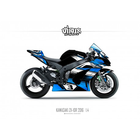 Kit déco Kawasaki ZX10R 2016 1.4 Noir Bleu Blanc