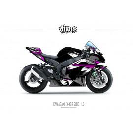 Kit déco Kawasaki ZX10R 2016 1.6 Noir Gris Rose