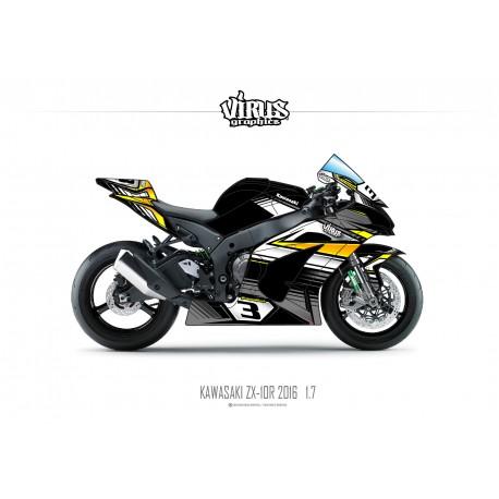 Kit déco Kawasaki ZX10R 2016 1.7 Noir Gris Jaune