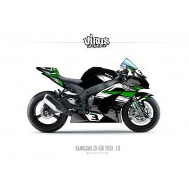 Kit déco Kawasaki ZX10R 2016 1.8 Noir Gris Vert