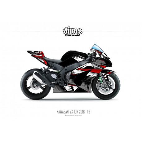 Kit déco Kawasaki ZX10R 2016 1.9 Noir Gris Rouge