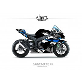 Kit déco Kawasaki ZX10R 2016 1.10 Noir Gris Bleu