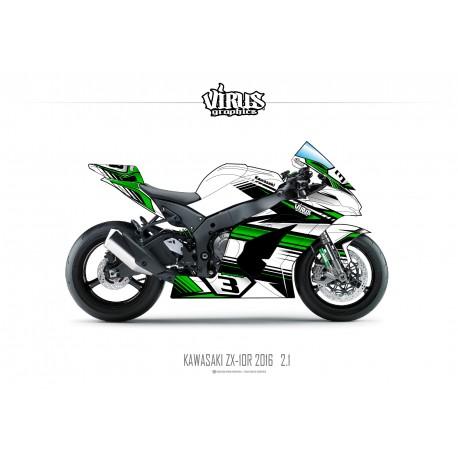 Kit déco Kawasaki ZX10R 2016 2.1 Blanc Vert Noir